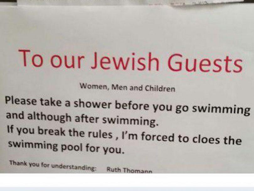 Hotel suíço pede a judeus que tomem uma ducha antes de entrar na piscina